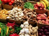 Variety of vegetables and fruits at the market — ストック写真