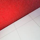 Interior with red tiled wall — Stock Photo