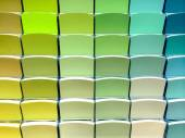 Green color swatches in a store — Stock Photo