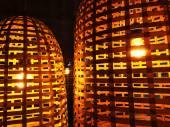 Lámparas con pantallas de mimbre — Foto de Stock
