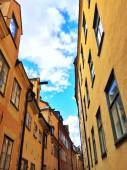 Bright buildings in the old center of Stockholm — Stock Photo