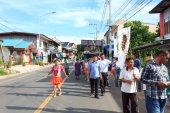 MAHASARAKHAM,THAILAND - OCTOBER 28 : Parade in tradition of Thailand on October 20,2014 in Mahasarakham,Thailand — Stock Photo