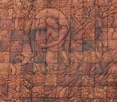 Carved reliefs on temple of Buddhism in Thailand — Stock Photo