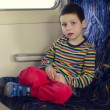 Child travelling on train — Stock Photo #59356403