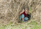 Child in hay stack — Foto Stock