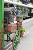 Luggage at old train station — Foto Stock