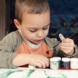 Child painting with brush — Stock Photo #61922991