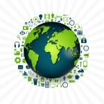 Media icons set around planet — Stock Vector #53183019