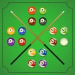 ������, ������: Billiard balls with cue