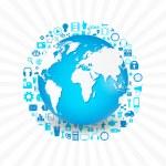 Media icons set around planet — Stock Vector #53185141