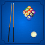 Постер, плакат: Billiard balls with cue