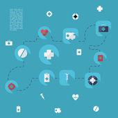 Set modern design medecine icons — Stock Vector
