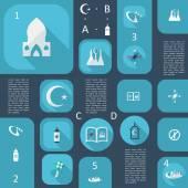 Set modern design Islamic icons — Stock Vector