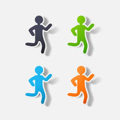 Paper clipped sticker: running Man — 图库矢量图片