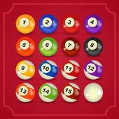 Set of billiard balls — Stock Vector