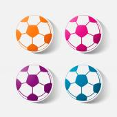 Paper clipped sticker: soccer-ball — Stock Vector