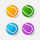 Papier abgeschnitten Aufkleber: Tennisball — Stockvektor