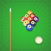 Billiard balls with cue — Stock Vector