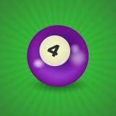 American billiard ball number 4 — Stock Vector