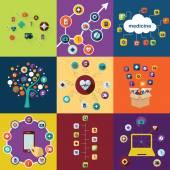 Ícones para medicina de projeto web — Vetor de Stock