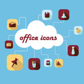 Set with shadow office icons — Stockvektor