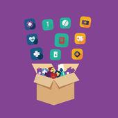 Icons for web design medicine — Stock Vector