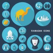 Shadow Ramadan icons — Stock Vector