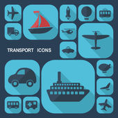 Flat design icons: transportation — Stock Vector