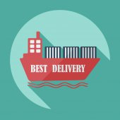 Flat modern design with shadow icons ship delivery — Cтоковый вектор