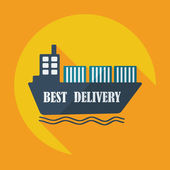 Flat modern design with shadow icons ship delivery — Stock Vector