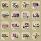 Assembly icons of transport delivery set collection — Stock Vector