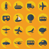 Assembly icons of transport delivery set collection — Stockvektor