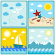 Collection of 4 images Summer mountain sun water shells — Stock Vector #77176157