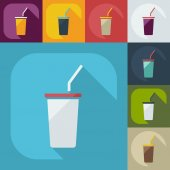 Flat modern design with shadow icons beverage — Vector de stock