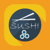 Flat modern design with shadow icons Japanese sushi — Vetor de Stock
