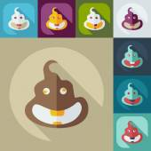 Flat modern design with shadow icons turd, faeces — Stock Vector