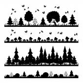 Composition black forest on a white background flat style trees — Stock Vector