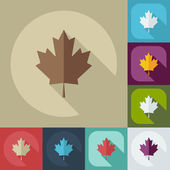 Flat modern design with shadow icons maple leaf — Stock Vector