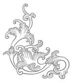 Baroque engraving floral design — 图库矢量图片