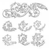 ヴィンテージ バロック彫刻のセット — ストックベクタ
