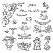 Set of vintage baroque engraving — Stock vektor