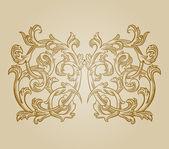 Baroque engraving floral design — Vetor de Stock