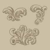 Baroque engraving floral design — Vector de stock