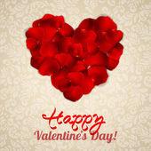 Rose petals heart — Stock Vector