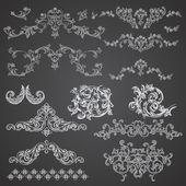 Baroque engraving floral design — Stock Vector