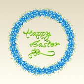 Easter garland with spring flowers — 图库矢量图片