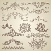 Disegno floreale incisione barocca — Vettoriale Stock
