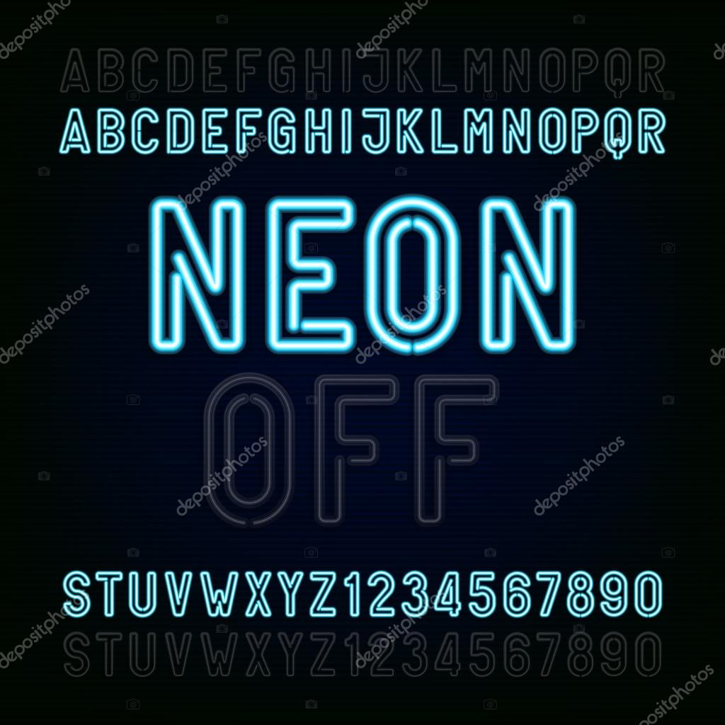Blue Neon Light Alphabet Font. Two Different Styles