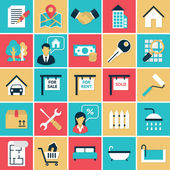 Real Estate flat icons set — Stock Vector
