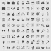 Vector Icons set in one color. Dark on light. — Stock Vector